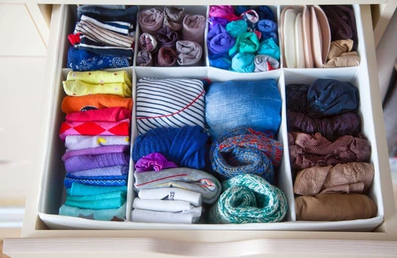 KonMari Check List encourages vertical folding and vertical storage.