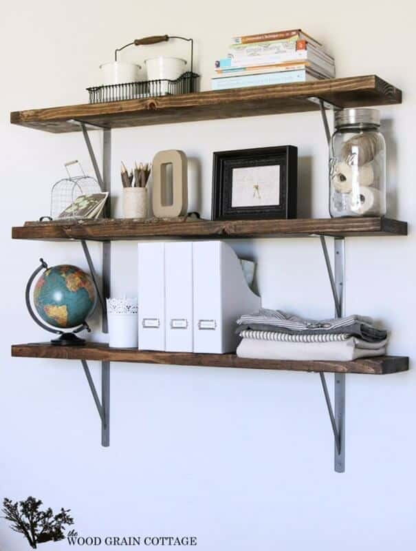 Wooden farmhouse shelves you can use in a small office.