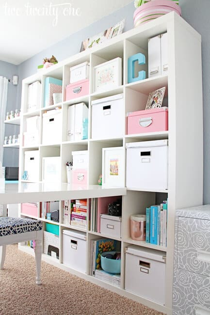 Baskets on a shelf for a home office