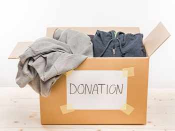 Donation box full of clothes