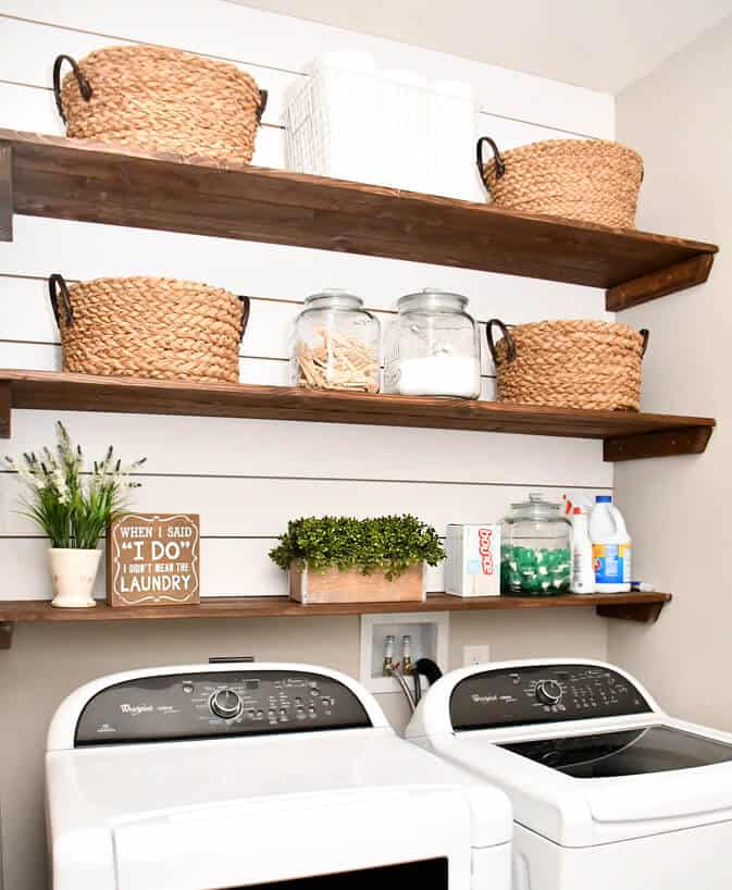 Building your own laundry room shelves with this tutorial.