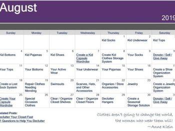Monthly Decluttering Challenge Calendar