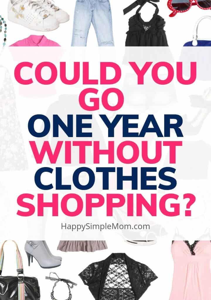 No Shopping Challenge with clothes in the background.