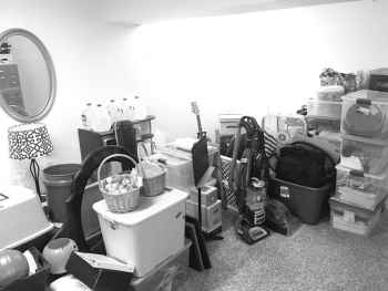 messy basement bw