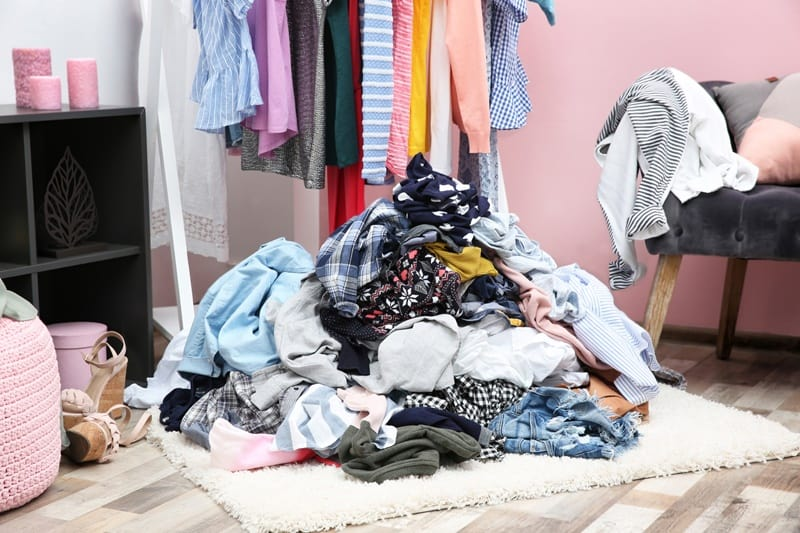 Pile of clothing to donate.