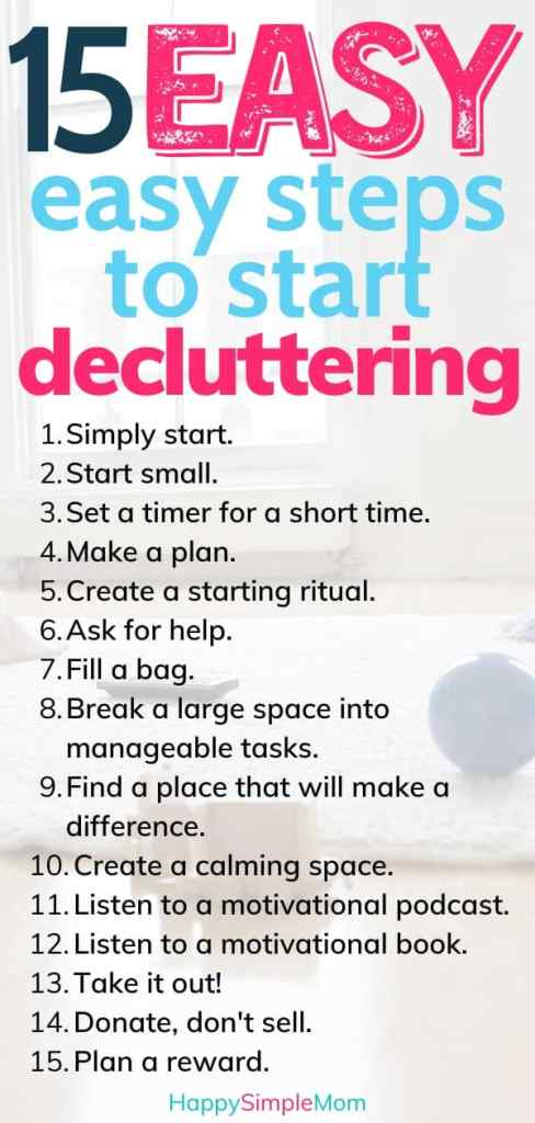 Steps to start decluttering listed out.