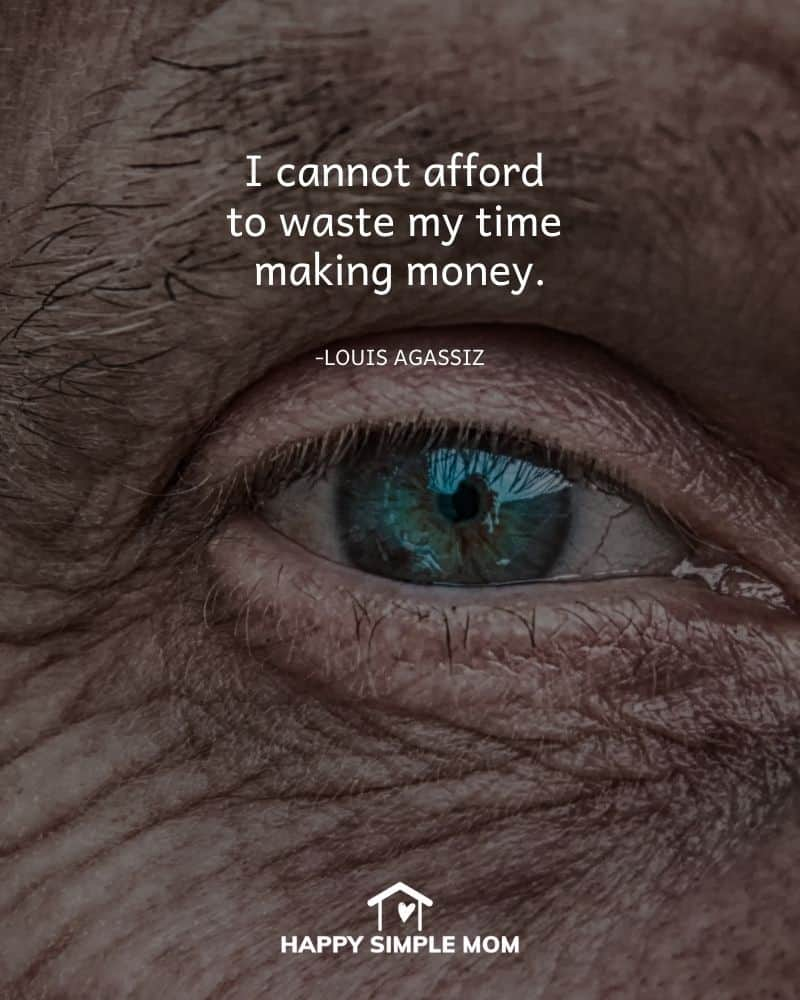 I cannot afford to waste my time making money. - Louis Agassiz