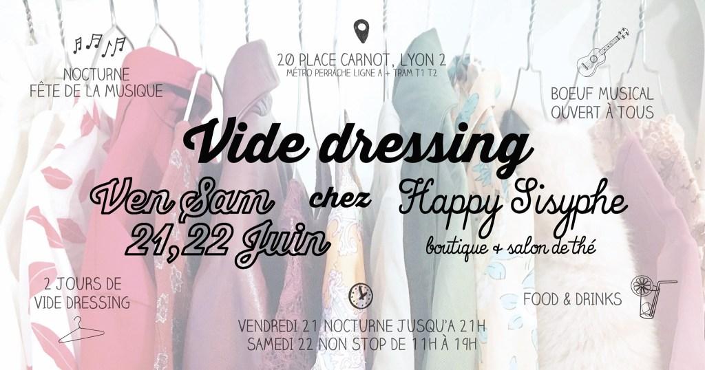Venez fêter l'arrivée de l'été en musique chez Happy Sisyphe, autour d'un verre et profitez-en pour vous trouver des petites merveilles de vêtements ! Pour la première fois depuis 2013, on vous propose 2 jours de VIDE DRESSING ! Parce que oui, cela fait plus de 6 ans que nous en organisons.. ♫ NOCTURNE FÊTE DE LA MUSIQUE Vendredi 21 Juin, pour la Fête de la Musique, la boutique sera ouverte en nocturne jusqu'à 21h ! Boissons, gourmandises et bonne humeur pour accompagner ton shopping ! ♫ BOEUF MUSICAL OUVERT A TOUS Prends ton ukulélé, ton triangle, tes castagnettes, ton saxo ou ton orgue de cathédrale et viens jammer pour la Fête de la Musique! Et si tu ne joues pas de musique, tu peux aussi claquer dans tes mains.. Notre coin banquette accueille tous les musicien(ne)s, amateurs comme pros, qui veulent jammer, jouer, « boeuffer » quoi ! ☞ Vendredi 21 Juin, à partir de 18h ♫ 2 JOURS DE VIDE DRESSING RDV shopping Vendredi 21 Juin ET Samedi 22 Juin parce qu'il est temps de passer à la garde robe estivale en consommant responsable ! ☞ Vendredi 21 Juin, de 11h à 13h30 puis 14h30 à 21h + Samedi 22 Juin de 11h à 19h NON STOP. Pour les acheteuses, ESPÈCES ET CHÈQUES UNIQUEMENT, pensez à prendre un tote bag pour vos trouvailles ! Pour les vendeuses (C'EST COMPLET), l'inscription se fait EN BOUTIQUE via l'achat d'un petit kit, vendu 5 euros. Le kit contient tout ce qu'il faut pour le vide dressing, étiquettes, liens, liste de vos pièces à remplir et une note explicative. Nous prenons une commission de 10% sur vos ventes (dès 20€ de vente) vu le succès des sessions précédentes et le travail que cela représente pour nous. Vous pouvez vendre 20 pièces maximum (vêtements et chaussures uniquement) et n'avez PAS BESOIN d'être présente le samedi, nous nous chargeons de la vente. Nous fournissons cintres et portants, vous avez juste à nous apporter les vêtements étiquetés et listés dans UN SAC (type cabas de courses) les jours précédant le vide dressing et à les récupérer dès la sema