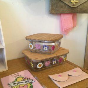 Lunch box tupperware eco responsable verre bambou fleurs pressées Happy Sisyphe Boutique LYON