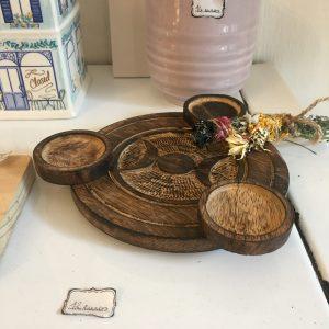 Support en Bois Triple Lune bougie rituel Happy Sisyphe Boutique Lyon