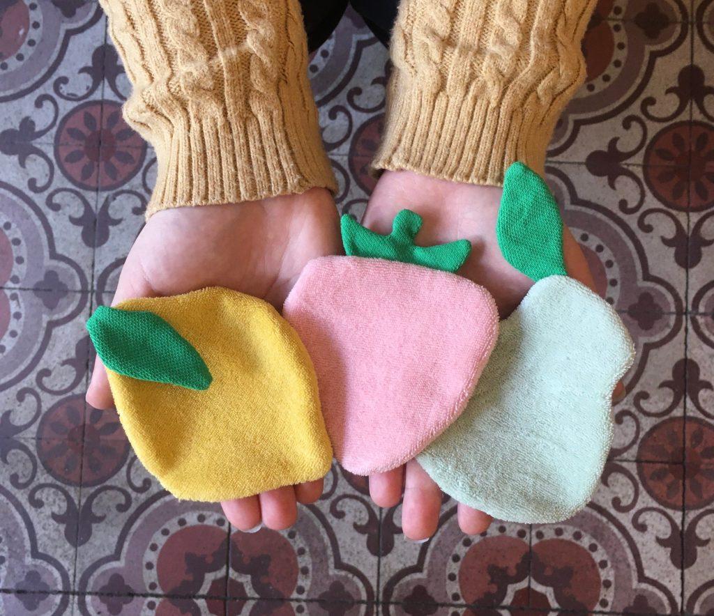 Lingettes lavables fruits citron poire fraise rose jaune vert feuilles Happy Sisyphe Boutique Lyon