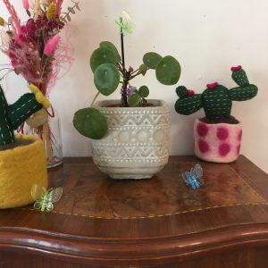 Cache-pot ciment Ola plante motifs géométriques Happy Sisyphe Boutique Lyon