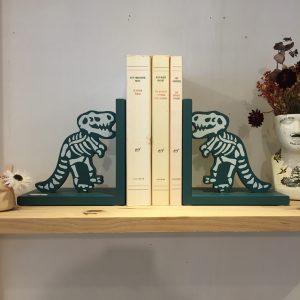 Serre-Livres Dino Bleu Squelette Dinosaure Happy Sisyphe Boutique Lyon