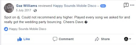 Happy Sounds Mobile Disco - Wedding Testimonial July 2017