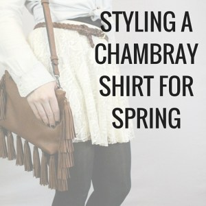 Click for some spring outfit inspiration. Knot your chambray shirt at the waist to go with a cute flowy spring skirt, paired with cute brown accessories including this super cute fringe purse.