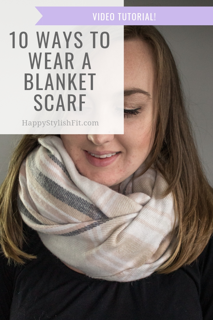 How to wear a blanket scarf 10 ways including this infinity look. With video tutorial. #BlanketScarf #FallFashion #WinterFashion #MomFashion