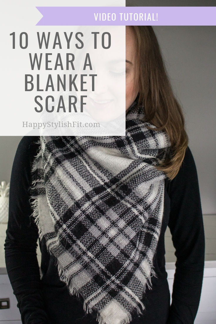 How to wear a blanket scarf 10 ways including front triangle With video tutorial. #BlanketScarf #FallFashion #WinterFashion #MomFashion