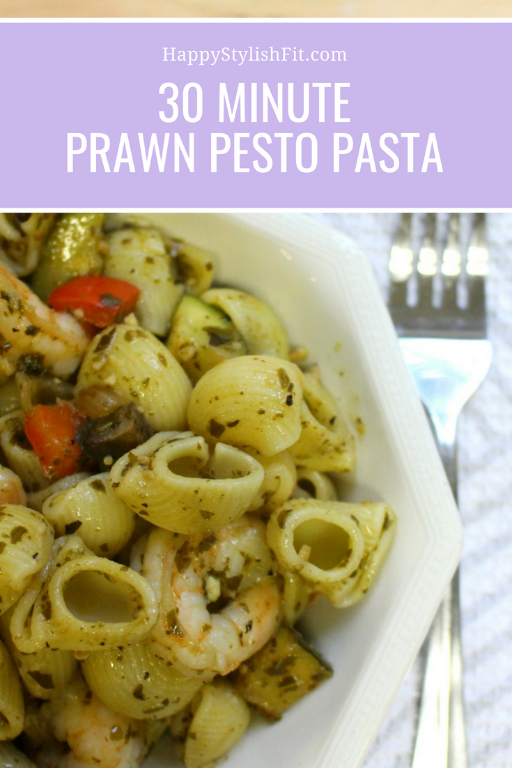 Quick and nutritious weeknight dinner: prawn pesto pasta.