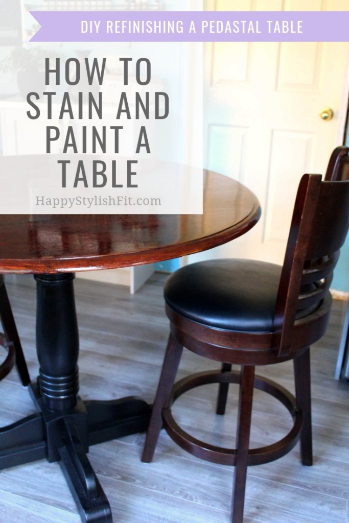 How to stain and paint a table. DIY tutorial for refinishing a table. #DIY #HomeDecor #HomeImprovements #Renos