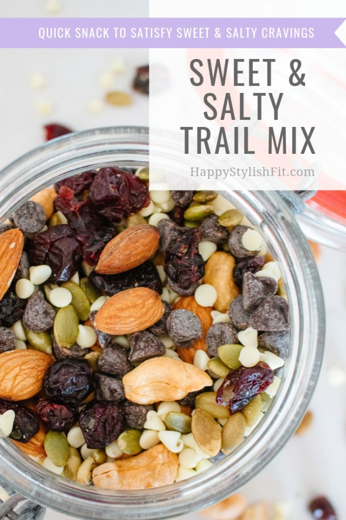 This sweet and salty trail mix is a great healthy snack to curb those cravings.