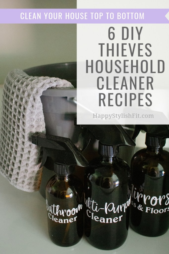 6 DIY Thieves household cleaner recipes including: bathroom cleaner, tub scrubber, window and floor cleaner, multi-purpose cleaner, and even a fruit and veggies soak.
