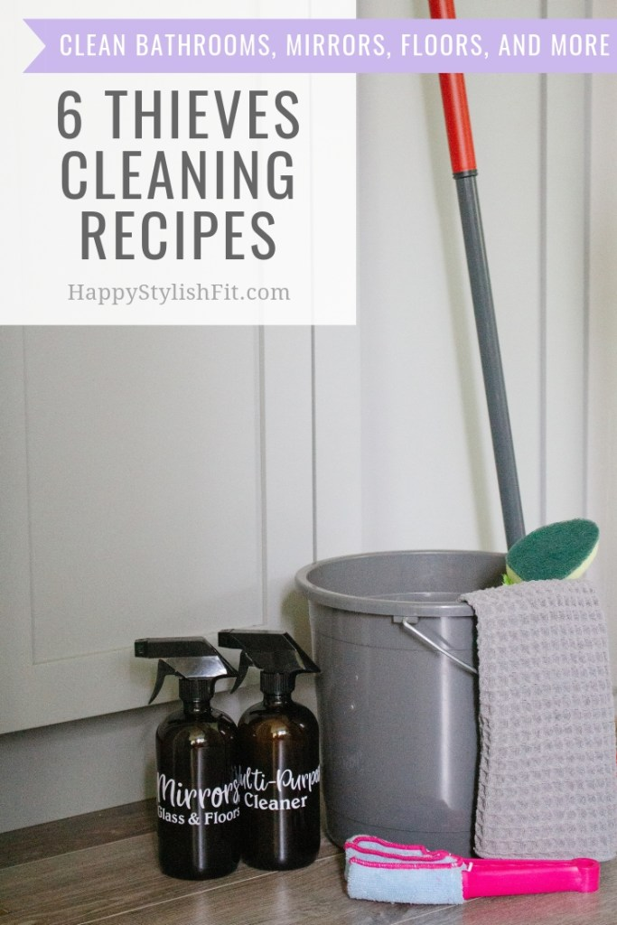 6 Thieves cleaning recipes for a non-toxic home. Recipes for bathroom cleaner, tub scrubber, multi-purpose cleaner, glass, mirrors, and floors cleaner, and a fruit and veggies soak.