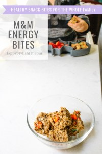 M&M Energy bites. These snack cubes are an easiry version of snack balls made with healthy ingredients like peanut butter, prunes, and chia seeds.