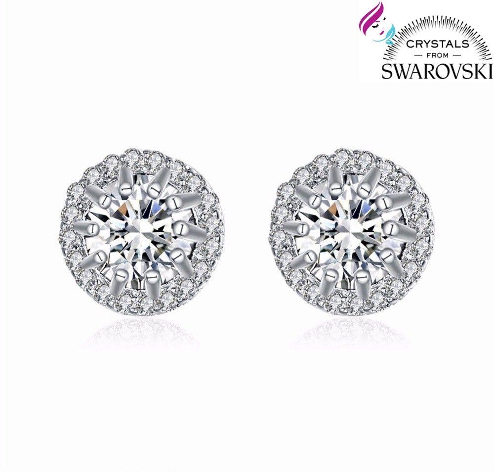 83f6919179b187 Orecchini da donna punto luce placcati oro bianco 18 k e cristalli Swarovski