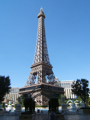 The pool and Eiffel tower at the Paris hotel in Las Vegas