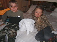 The kids with an elephant towel animal