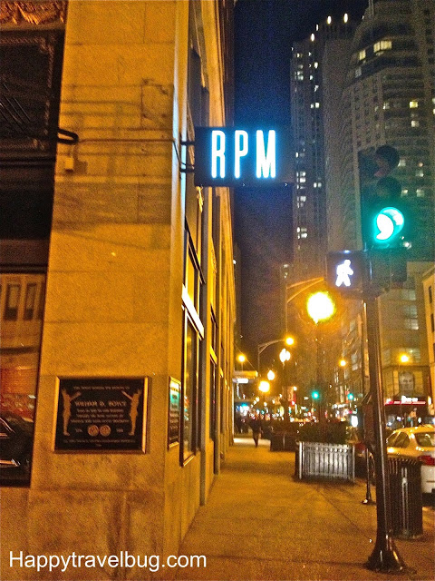 Outside of RPM Italian Restaurant in Chicago at night