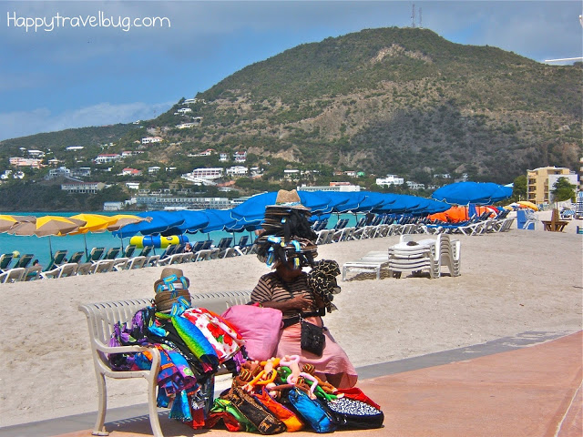 Lady with her wares in St. Maarten