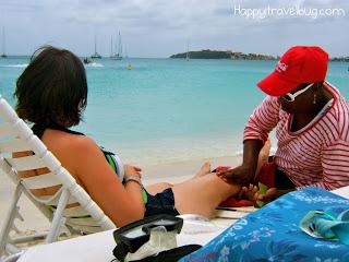 Getting a massage on the beach of St Maarten