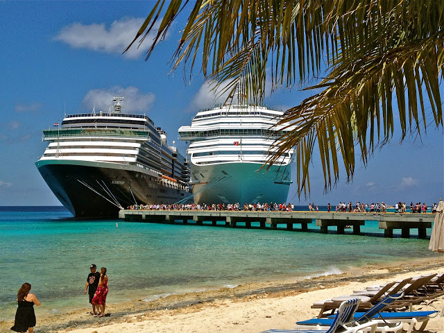 Two cruise ships docked at Grand Turk