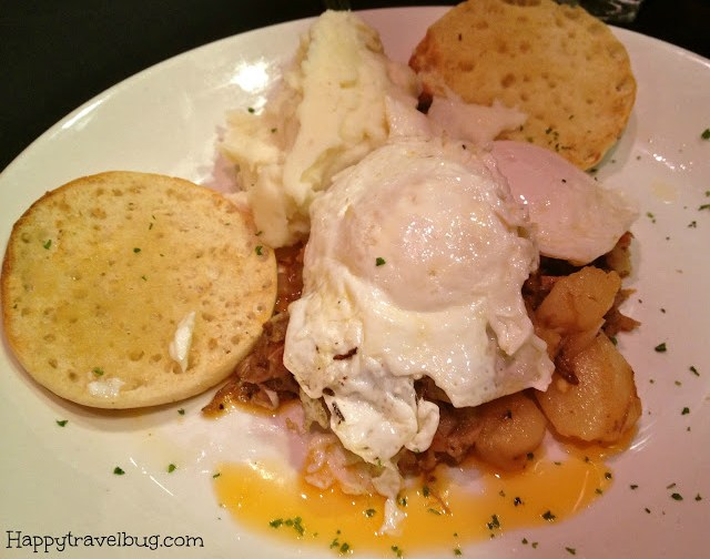 hash and eggs with an english muffin