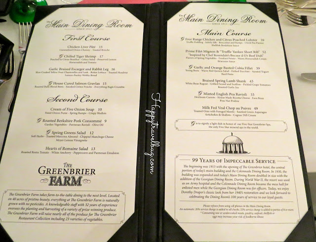 Main Dining Room Menu