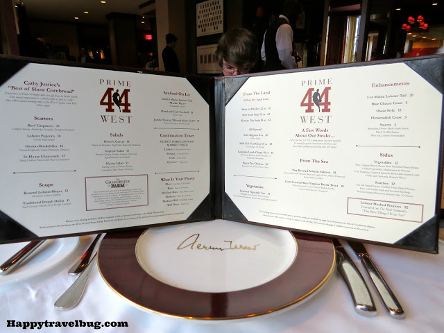 The Menu offerings at Prime 44 West