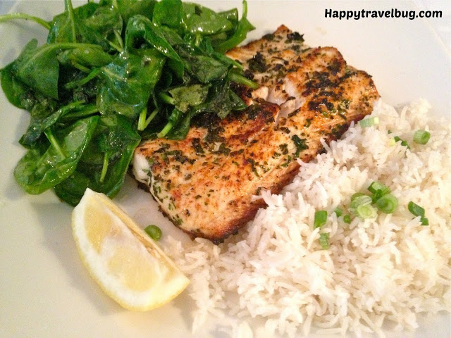 fresh fish of the day with rice and spinach