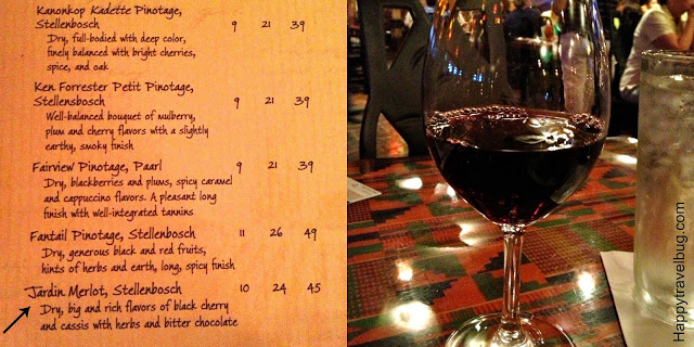 The wine list at Boma with the wine I ordered