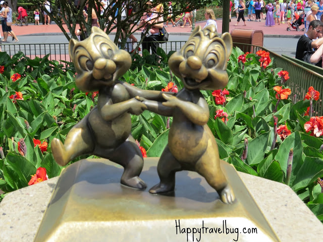 Chip and Dale sculptures at Disney World