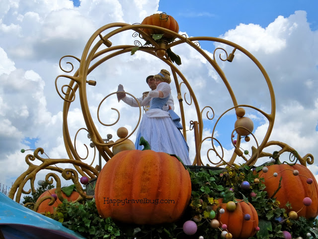 Cinderella and Prince Charming on parade at Disney World
