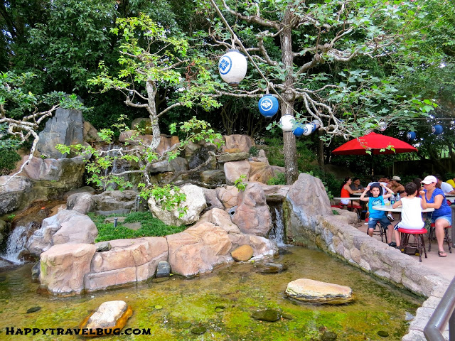 Water feature outside Katsura Grill in Epcot's Japan