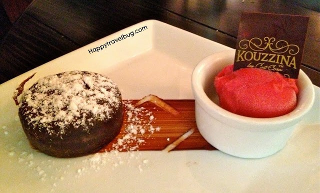 Chocolate Budino Cake with sorbet