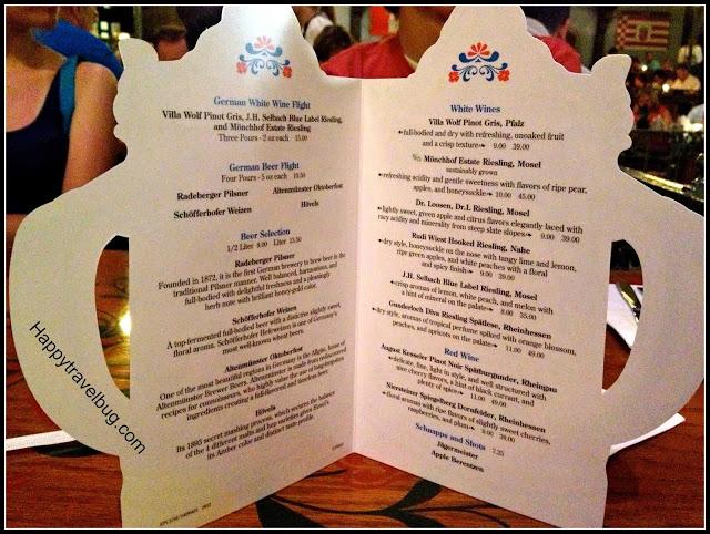 Wine menu at the Biergarten Restaurant in Epcot's Germany