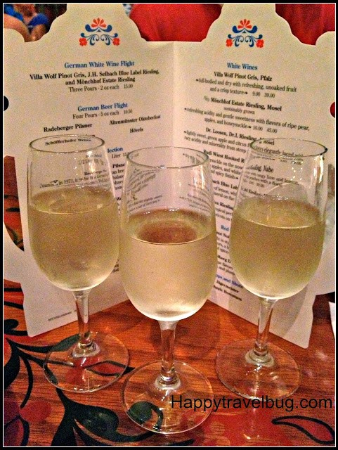 German white wine flight at the Biergarten Restaurant in Epcot