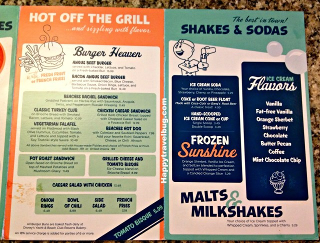 Beaches and Cream menu at Disney World
