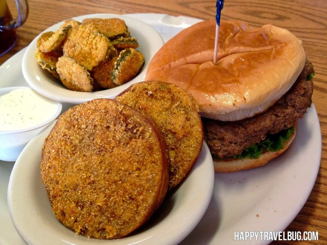 Hamburger, fried pickles and fried green tomatoes at Cotham's Mercantile in Arkansas