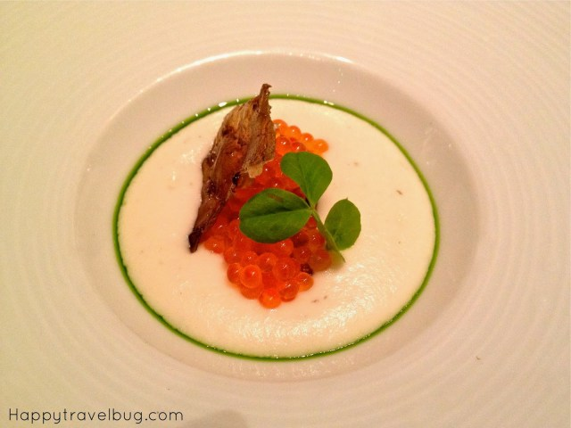 Lite sunchoke, trout roe and chive from TRU restaurant in Chicago