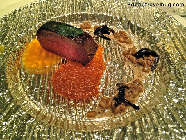 Cervena venison, black trumpet farro, gooseberry at TRU restaurant in Chicago