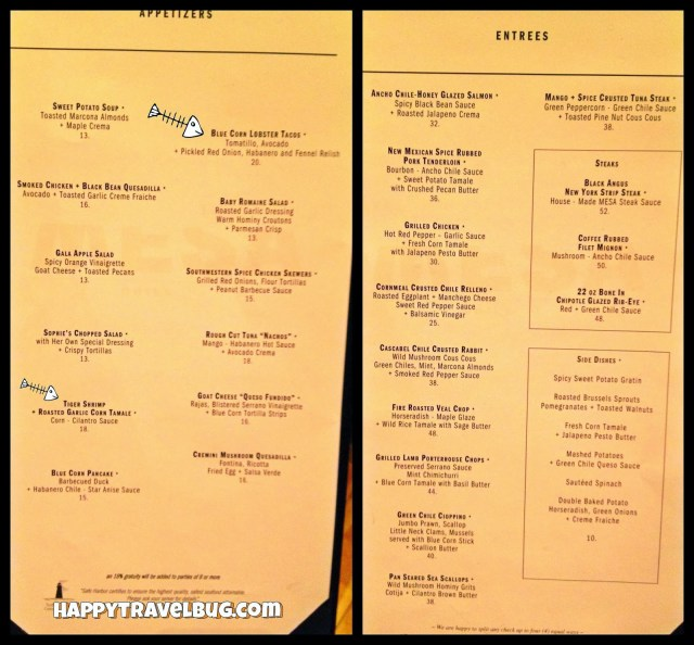 Menu from Bobby Flay's Mesa Grill in Las Vegas